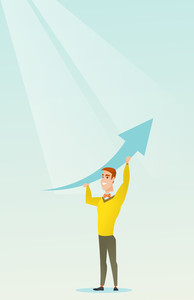Caucasian business man changing the path of graph to a positive increase. Young business man holding arrow going up. Business man with growth graph. Vector flat design illustration. Vertical layout.