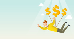Caucasian business man flying with dollar signs. Happy business man gliding in the sky with dollars. Business woman using dollar signs as parachute. Vector flat design illustration. Horizontal layout.