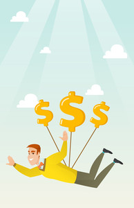 Caucasian business man flying with dollar signs. Happy business man gliding in the sky with dollars. Business woman using dollar signs as parachute. Vector flat design illustration. Vertical layout.