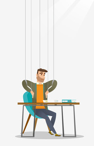 Caucasian business man hanging on strings like marionette. Business man marionette on ropes sitting in office. Emotionless marionette man working. Vector flat design illustration. Vertical layout.