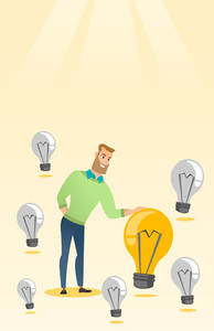 Caucasian business man having business idea. Young business man standing among unlit idea light bulbs and looking at the brightest idea light bulb. Vector flat design illustration. Vertical layout.