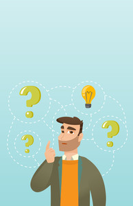 Caucasian business man having creative idea. Business man standing with question marks and idea light bulb above his head. Concept of business idea. Vector flat design illustration. Vertical layout.