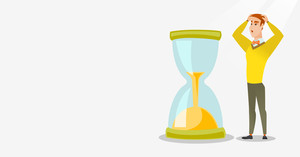 Caucasian business man looking at hourglass symbolizing deadline. Business man worrying about deadline terms. Time management and deadline concept. Vector flat design illustration. Horizontal layout.
