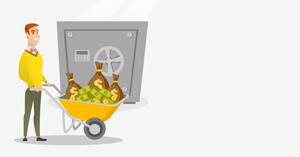 Caucasian business man pushing wheelbarrow full of money on the background of big safe. Rich business man depositing his money in bank in the safe. Vector flat design illustration. Horizontal layout.