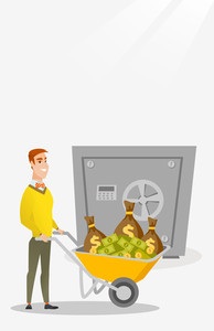 Caucasian business man pushing wheelbarrow full of money on the background of big safe. Rich business man depositing his money in bank in the safe. Vector flat design illustration. Vertical layout.