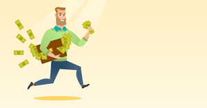Caucasian business man running with briefcase full of money and committing economic crime. Young business man stealing money. Economic crime concept. Vector flat design illustration. Horizontal layout