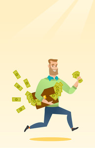Caucasian business man running with briefcase full of money and committing economic crime. Young business man stealing money. Economic crime concept. Vector flat design illustration. Vertical layout.