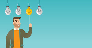 Caucasian business man switching on hanging idea light bulb. Young hipster business man with beard pulling a light switch. Business idea concept. Vector flat design illustration. Horizontal layout.