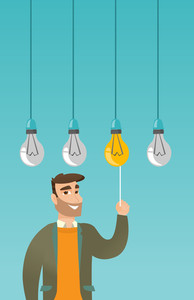 Caucasian business man switching on hanging idea light bulb. Young hipster business man with beard pulling a light switch. Business idea concept. Vector flat design illustration. Vertical layout.