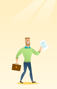 Caucasian business man walking with briefcase and a document. Young happy business man walking in a hurry. Cheerful business man walking to success. Vector flat design illustration. Vertical layout.