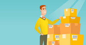 Caucasian business man working in warehouse. Business man checking boxes in warehouse. Young business man preparing goods for dispatch in warehouse. Vector flat design illustration. Horizontal layout.