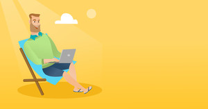 Caucasian business man working on the beach. Young businessman sitting in chaise lounge on the beach. Hipster businessman using laptop on the beach. Vector flat design illustration. Horizontal layout.