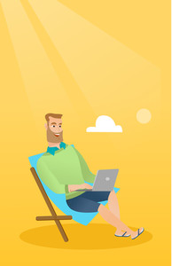 Caucasian business man working on the beach. Young businessman sitting in chaise lounge on the beach. Hipster businessman using laptop on the beach. Vector flat design illustration. Vertical layout.