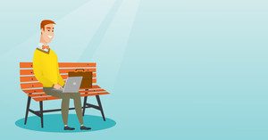 Caucasian business man working outdoor. Smiling business man using a laptop outdoor. Young business man sitting on a bench and working on a laptop. Vector flat design illustration. Horizontal layout.