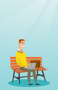 Caucasian business man working outdoor. Smiling business man using a laptop outdoor. Young business man sitting on a bench and working on a laptop. Vector flat design illustration. Vertical layout.