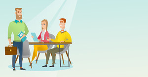 Caucasian business partners working in office. Young business partners discussing documents in office. Business partnership and teamwork concept. Vector flat design illustration. Horizontal layout.
