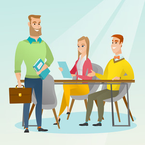 Caucasian business partners working in office. Young business partners discussing legal documents in office. Business partnership and teamwork concept. Vector flat design illustration. Square layout.