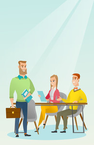 Caucasian business partners working in office. Young business partners discussing legal documents in office. Business partnership and teamwork concept. Vector flat design illustration. Vertical layout