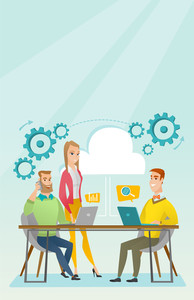 Caucasian business people gathered together in office. Office worker working on a laptop. Office worker talking on mobile phone. Office life concept. Vector flat design illustration. Vertical layout.
