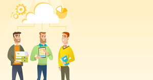 Caucasian business team using cloud computing technologies. Business team standing under cloud. Cloud computing, teamwork and brainstorming concept. Vector flat design illustration. Horizontal layout.