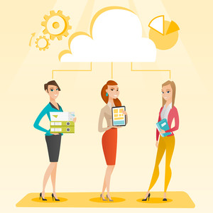 Caucasian business team using cloud computing technologies. Business team standing under cloud. Concept of cloud computing, teamwork and brainstorming. Vector flat design illustration. Square layout.