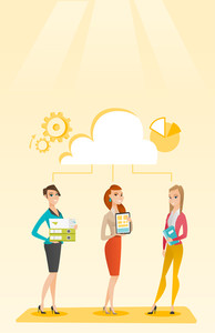 Caucasian business team using cloud computing technologies. Business team standing under cloud. Concept of cloud computing, teamwork and brainstorming. Vector flat design illustration. Vertical layout