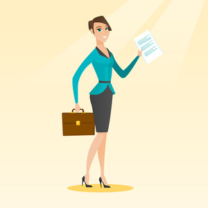 Caucasian business woman carrying a briefcase and showing a document. Full length of young happy business woman with briefcase and a document in hands. Vector flat design illustration. Square layout.