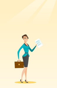 Caucasian business woman carrying a briefcase and showing a document. Full length of young happy business woman with briefcase and a document in hands. Vector flat design illustration. Vertical layout
