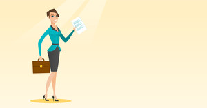 Caucasian business woman carrying briefcase and showing a document. Full length of young happy business woman with briefcase and a document in hands. Vector flat design illustration. Horizontal layout