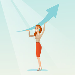 Caucasian business woman changing the path of graph to a positive increase. Business woman holding arrow going up. Business woman with growth graph. Vector flat design illustration. Square layout