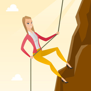 Caucasian business woman climbing on the mountain. Young brave business woman climbing on the mountain using a rope. Concept of business challenge. Vector flat design illustration. Square layout.