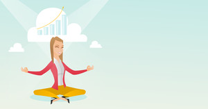 Caucasian business woman doing yoga in lotus position and thinking about the growth graph. Peaceful business woman meditating in yoga lotus position. Vector flat design illustration. Horizontal layout