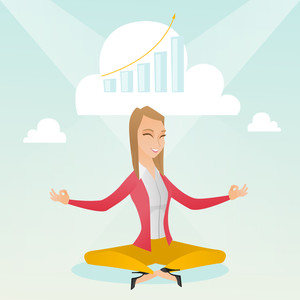 Caucasian business woman doing yoga in lotus position and thinking about the growth graph. Peaceful business woman meditating in yoga lotus position. Vector flat design illustration. Square layout.