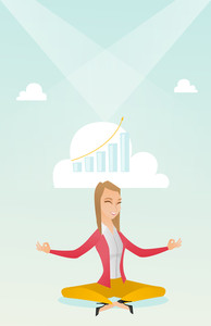 Caucasian business woman doing yoga in lotus position and thinking about the growth graph. Peaceful business woman meditating in yoga lotus position. Vector flat design illustration. Vertical layout.