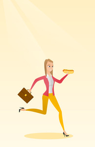 Caucasian business woman eating hot dog in a hurry. Business woman eating on the run. Young business woman running with briefcase and eating hot dog. Vector flat design illustration. Vertical layout.