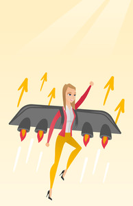 Caucasian business woman flying with a jet backpack. Young happy business woman flying on the business start up rocket. Concept of business start up. Vector flat design illustration. Vertical layout.