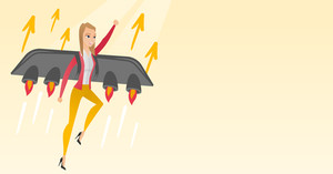 Caucasian business woman flying with a jet backpack. Young woman flying on the rocket symbolizing business start up. Concept of business start up. Vector flat design illustration. Horizontal layout.