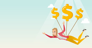 Caucasian business woman flying with dollar signs. Business woman gliding in the sky with dollars. Business woman using dollar signs as parachute. Vector flat design illustration. Horizontal layout.