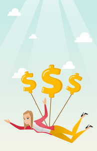 Caucasian business woman flying with dollar signs. Business woman gliding in the sky with dollars. Business woman using dollar signs as parachute. Vector flat design illustration. Vertical layout.