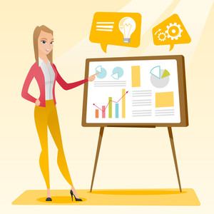 Caucasian business woman giving business presentation. Business woman pointing at charts on board during presentation. Business presentation concept. Vector flat design illustration. Square layout.