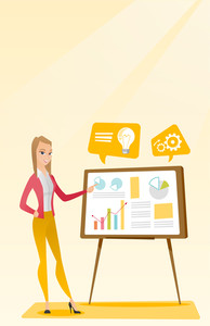 Caucasian business woman giving business presentation. Business woman pointing at charts on board during presentation. Business presentation concept. Vector flat design illustration. Vertical layout.