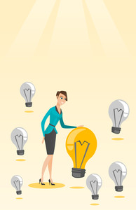 Caucasian business woman having business idea. Young business woman standing among unlit idea light bulbs and looking at the brightest idea light bulb. Vector flat design illustration. Vertical layout