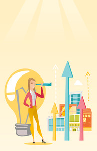 Caucasian business woman looking through spyglass at arrows going up and idea bulb. Business woman looking for creative idea. Business idea concept. Vector flat design illustration. Vertical layout.