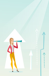 Caucasian business woman looking through spyglass on arrows going up symbolizing business opportunities. Business vision and opportunities concept. Vector flat design illustration. Vertical layout.