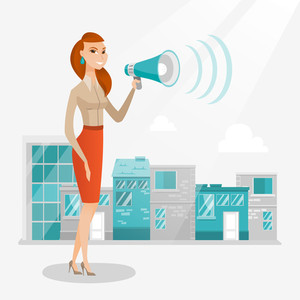 Caucasian business woman making an announcement on a city background. Business woman announcing through megaphone. Concept of business announcement. Vector flat design illustration. Square layout.
