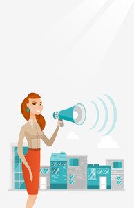 Caucasian business woman making an announcement on a city background. Business woman announcing through megaphone. Concept of business announcement. Vector flat design illustration. Vertical layout.