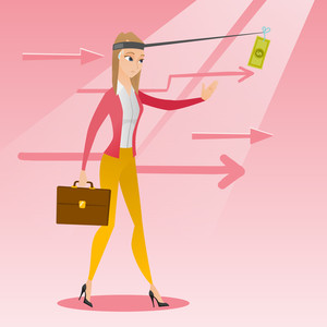 Caucasian business woman motivated by money hanging on fishing rod. Money on fishing rod as motivation for businesswoman. Concept of business motivation. Vector flat design illustration. Square layout