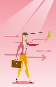 Caucasian business woman motivated by money hanging on fishing rod. Money on fishing rod as motivation for woman. Concept of business motivation. Vector flat design illustration. Vertical layout.