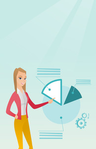 Caucasian business woman pointing at pie chart during presentation. Business woman explaining pie chart. Woman giving presentation with pie chart. Vector flat design illustration. Vertical layout.