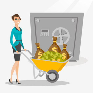 Caucasian business woman pushing wheelbarrow full of money on the background of big safe. Rich business woman depositing her money in bank in the safe. Vector flat design illustration. Square layout.
